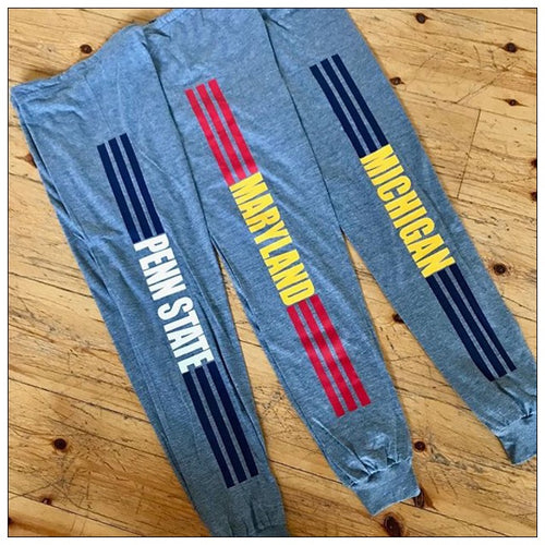 Lightweight 3 Stripe custom College Jogger