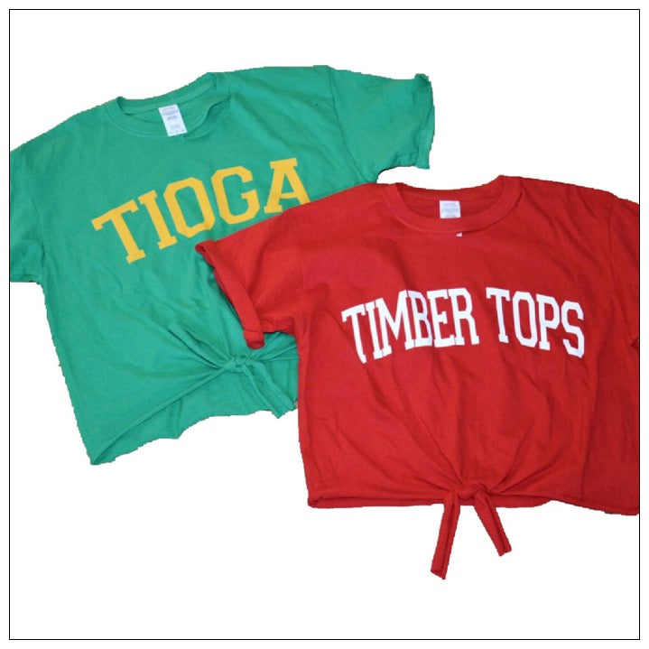 Camp Collegiate Tie Front T-Shirt- The Canteen -Tioga & Timber Tops
