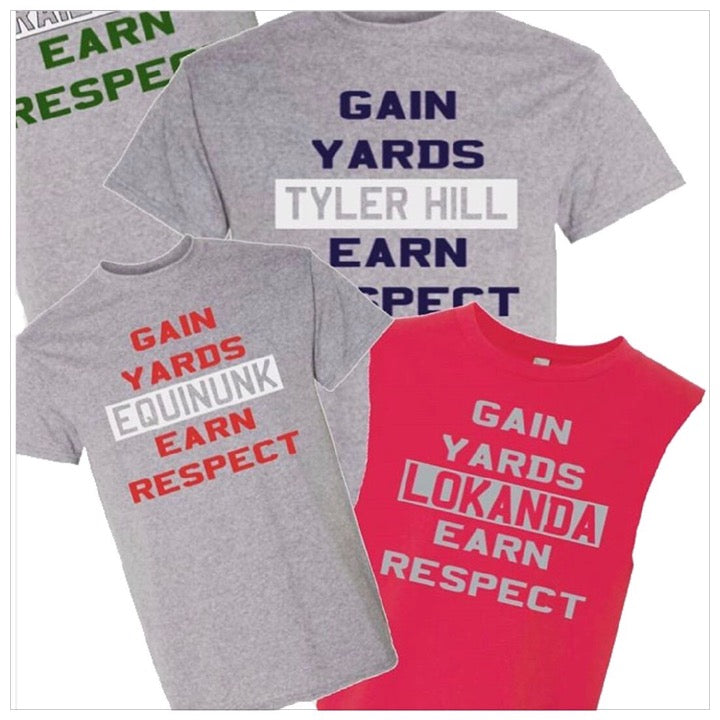 Custom Camp Football Gain Yards T-shirt - The Canteen - Lokanda, Tyler Hill, Equinunk