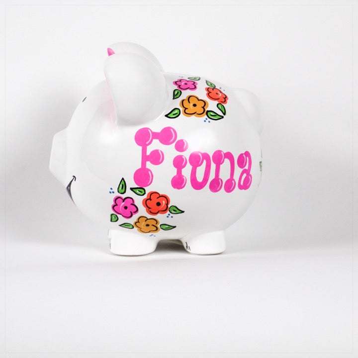 Piggy Bank personalized with name and pink and orange flowers- side view