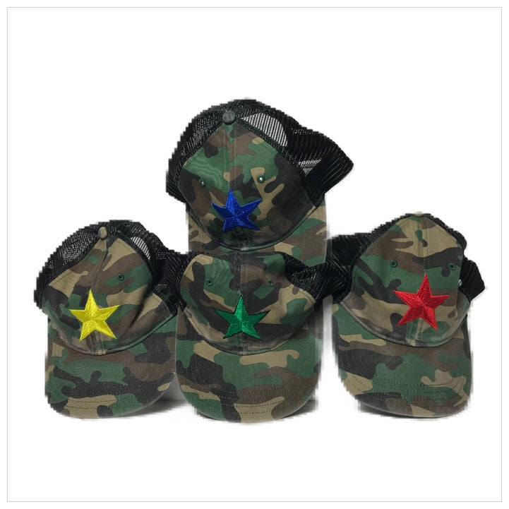 Custom Embroidered Trucker Hat -The Canteen- Camo Star