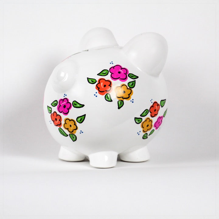 Piggy Bank personalized with name and pink and orange flowers-side