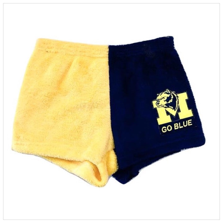 Fuzzy Color Block College Mascot Shorts- The Canteen - Michigan