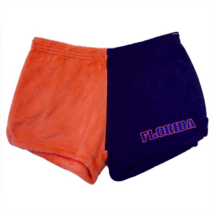 Fuzzy Color Block College Shorts -The Canteen- Florida