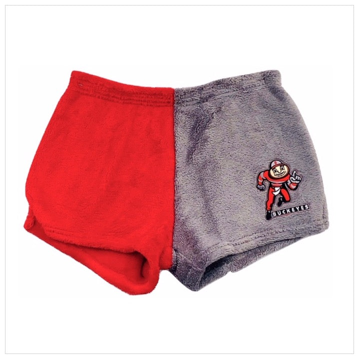 Fuzzy Color Block College Mascot Shorts
