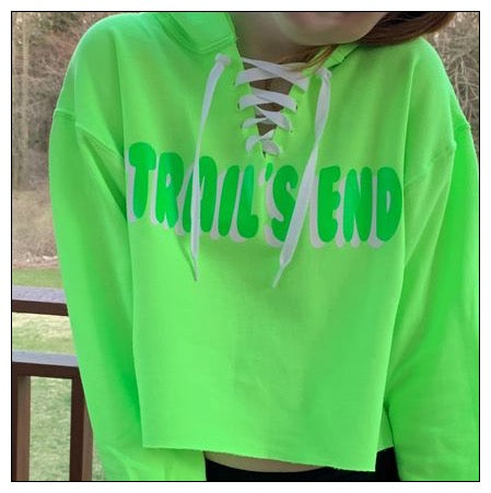 Custom Camp Neon Lace Up Cropped Hoodie w/ Bubble Shadow Design - The Canteen