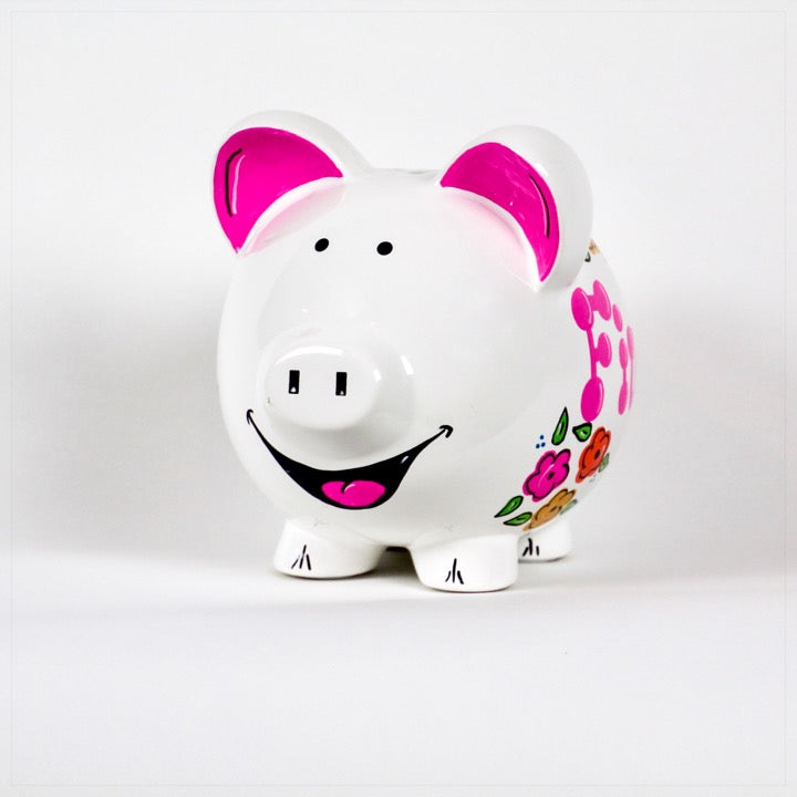 Piggy Bank personalized with name and pink and orange flowers - front