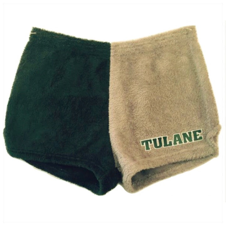 Fuzzy Color Block College Shorts -The Canteen- Tulane