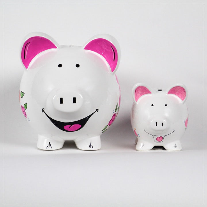 Piggy Banks, large and small,personalized with name And pink flowers