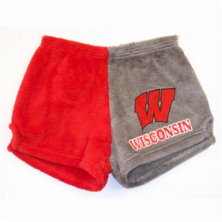 Fuzzy Color Block College Shorts -The Canteen- Wisconsin