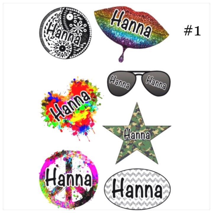 Personalized Cling Its- The Canteen - glitter lips aviators yin yang
