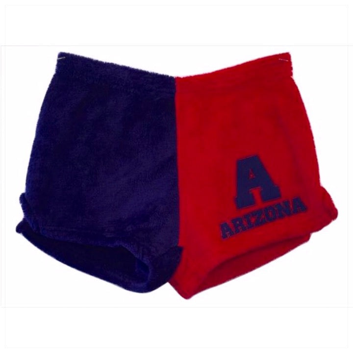 Fuzzy Color Block College Shorts -The Canteen- Arizona