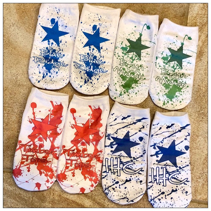 Custom Camp Star Splatter Socks- The Canteen