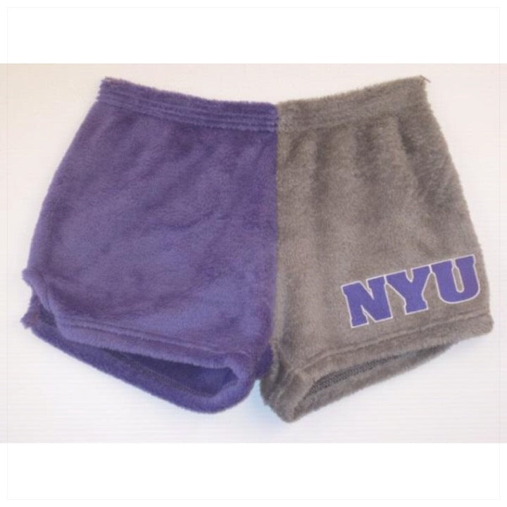 Fuzzy Color Block College Shorts