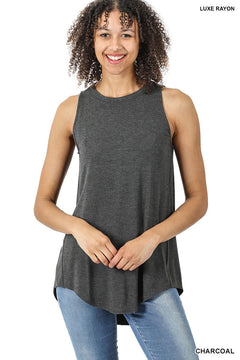 Luxe Sleeveless Top with Hi-Low Hem in Charcoal