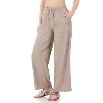 Linen Drawstring Pants with Pockets (2 Colors)