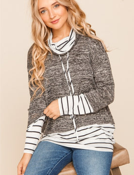 Curvy Striped + Marbled Cowl Neck (Charcoal)