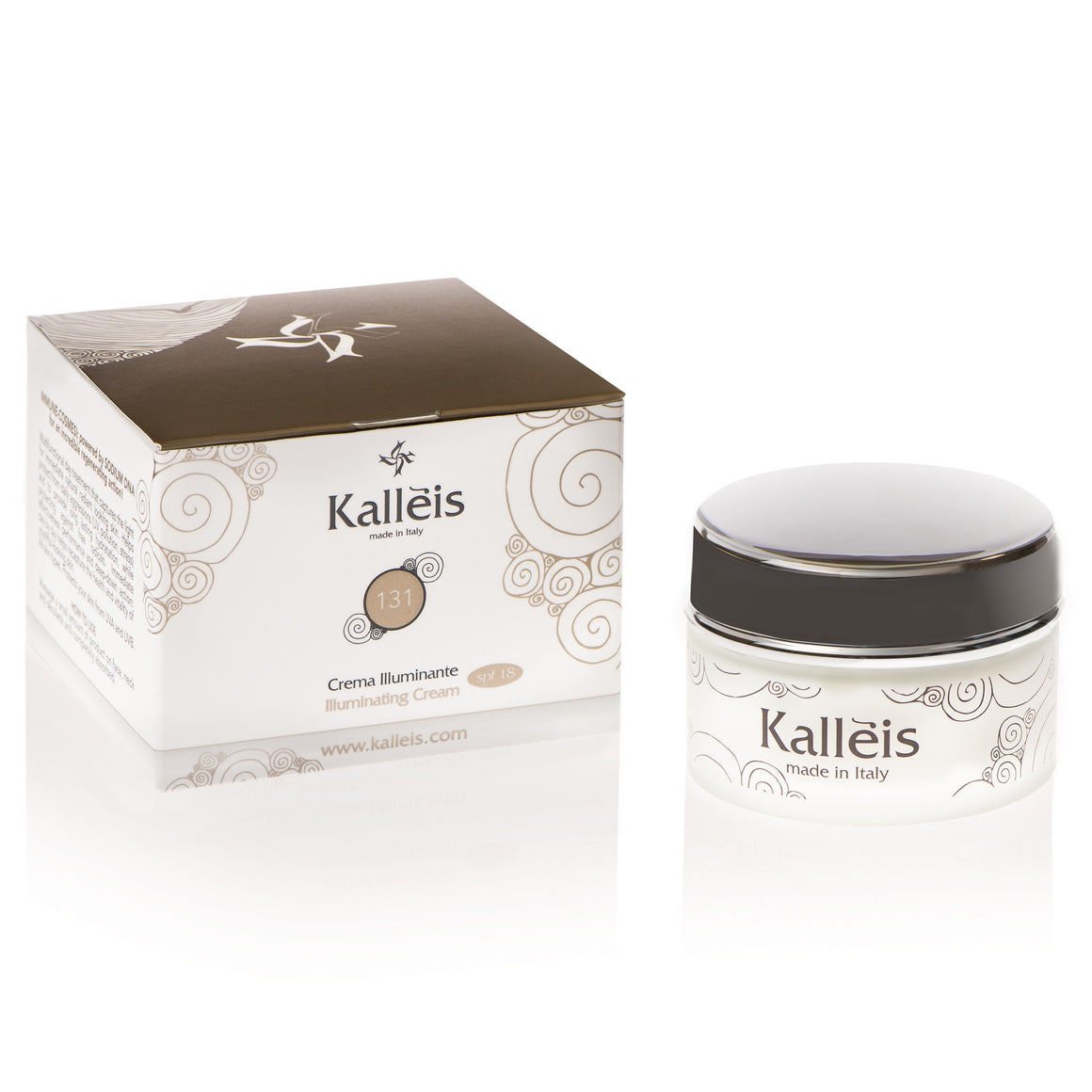Kalléis Illuminating Day Cream, SPF 18 for a more luminous, youthful skin with enhanced tone and firmness and to tackle unwanted wrinkles, expression lines and discoloration of the skin.