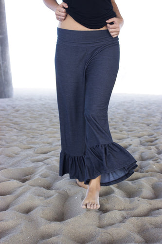 Women's Cropped Ruffle Yoga Waistband Pants, Inspired by Matilda Jane Clothing