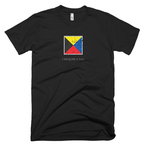 I Require A Tug - Signal Flag T-Shirt (dark / distressed)