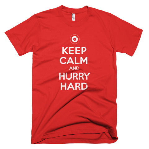 Keep Calm and Hurry Hard - Curling T-Shirt (dark / distressed)