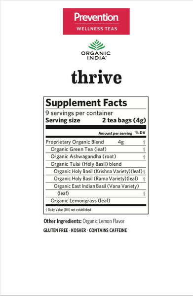 Organic India, Prevention Thrive Tea for Balanced Energy Support, 18 ct bag