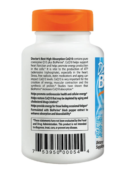 Doctor's Best, High Absorption CoQ10 with Bioperine, 100 mg, 30 veggie caps