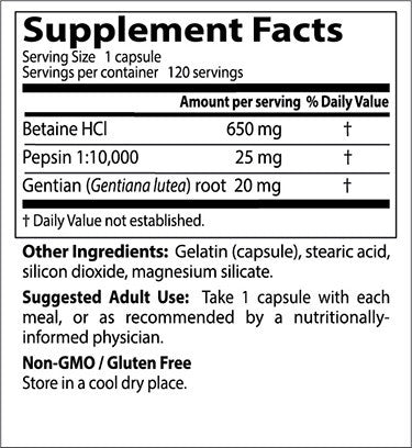Doctor's Best, Betaine HCl Pepsin & Gentian Bitters, 120 ct