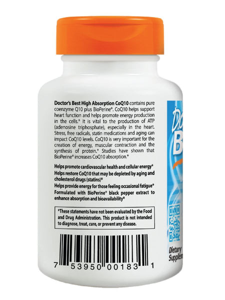 Doctor's Best, High Absorption CoQ10 with BioPerine, 100 mg, 120 soft gels