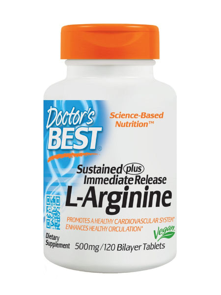 Sustained plus Immediate Release L-Arginine, 500 mg, 120 ct, Doctor's Best