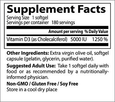 Doctor's Best, Vitamin D3, 5000IU, 180 soft gels