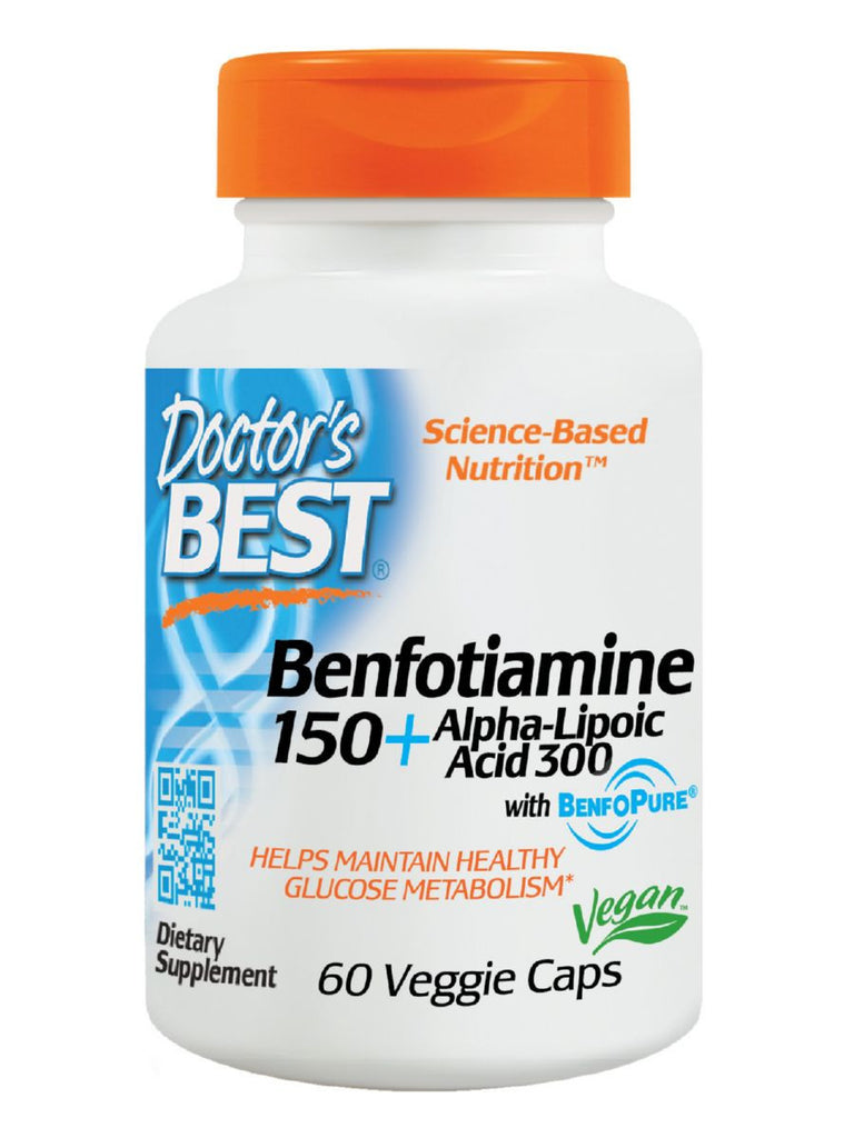 Doctor's Best, Benfotiamine 150 and Alpha Lipoic Acid 300, 60 veggie caps