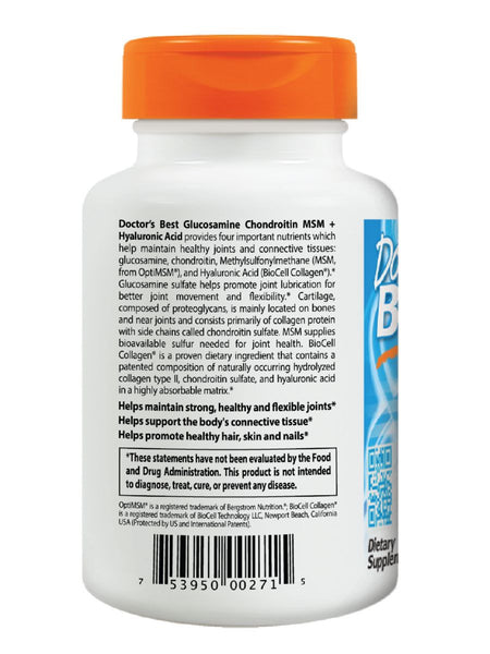 Doctor's Best, Glucosamine Chondroitin MSM + Hyaluronic Acid, 150 ct