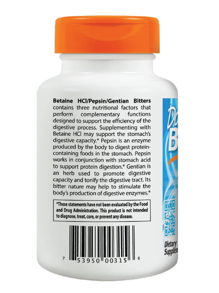Doctor's Best, Betaine HCl Pepsin and Gentian Bitters, 360 caps