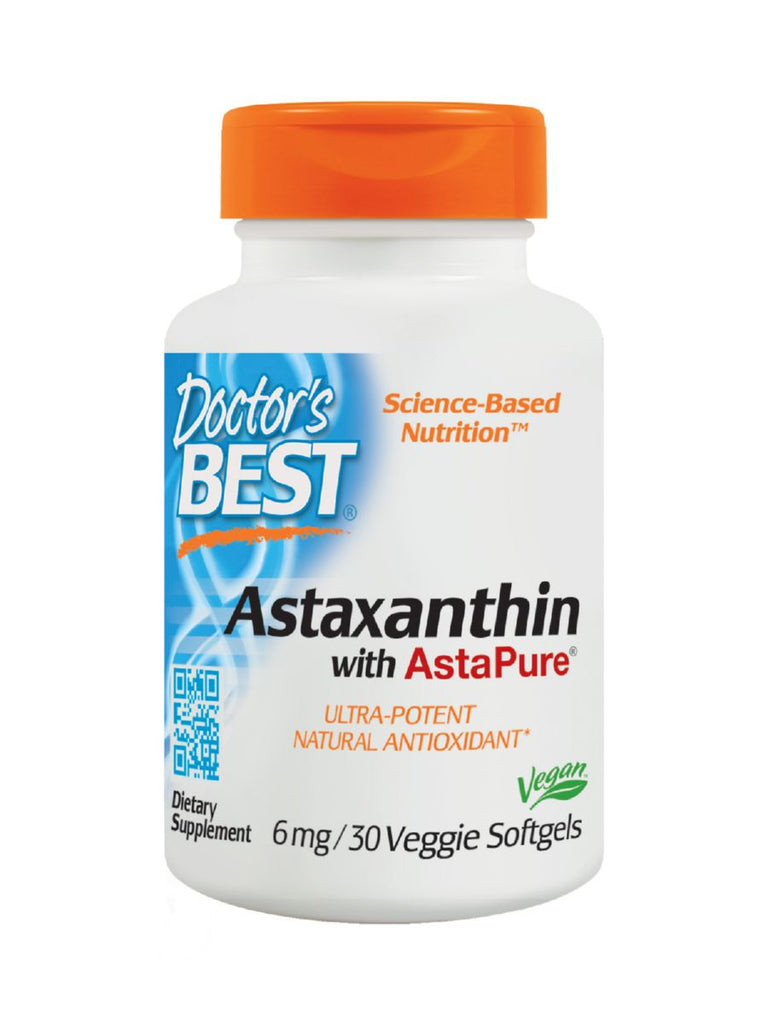 Doctor's Best, Astaxanthin featuring AstaPure, 6 mg, 30 softgels
