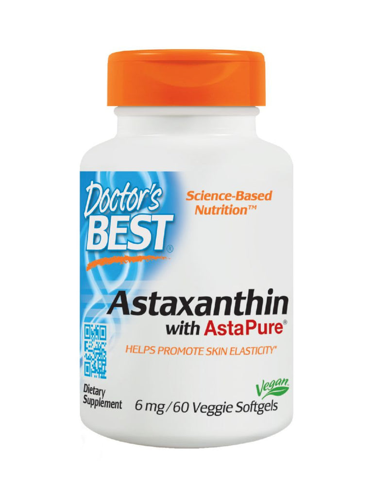 Doctor's Best, Astaxanthin with AstaPure, 6 mg, 60 veggie softgels