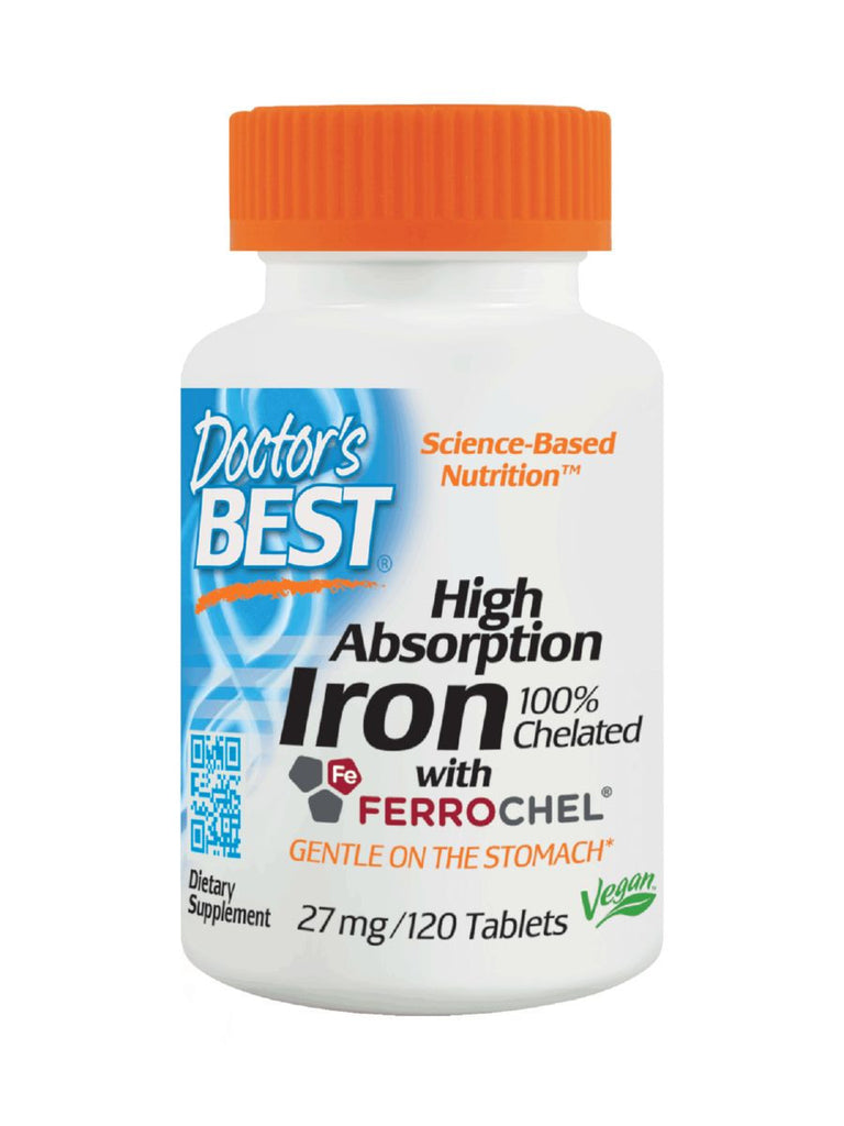 Doctor's Best, Iron, Chelated, 120 tabs