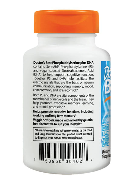 Doctor's Best, Phosphatidyl Serine plus DHA, 60 veggie softgels