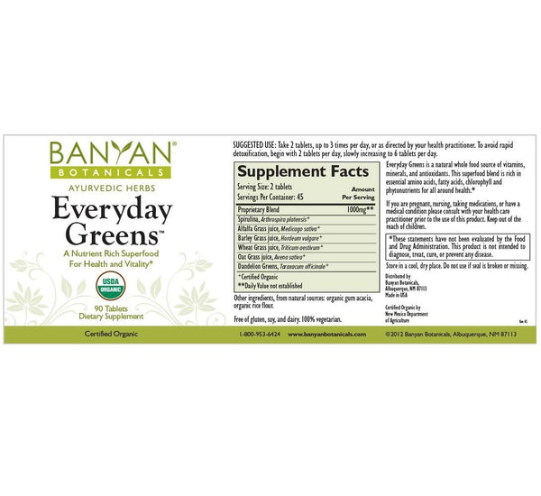 Banyan Botanicals, Everyday Greens, 90 ct