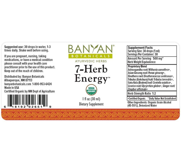 Banyan Botanicals, 7 Herb Energy, Liquid Extract, 1 fl oz