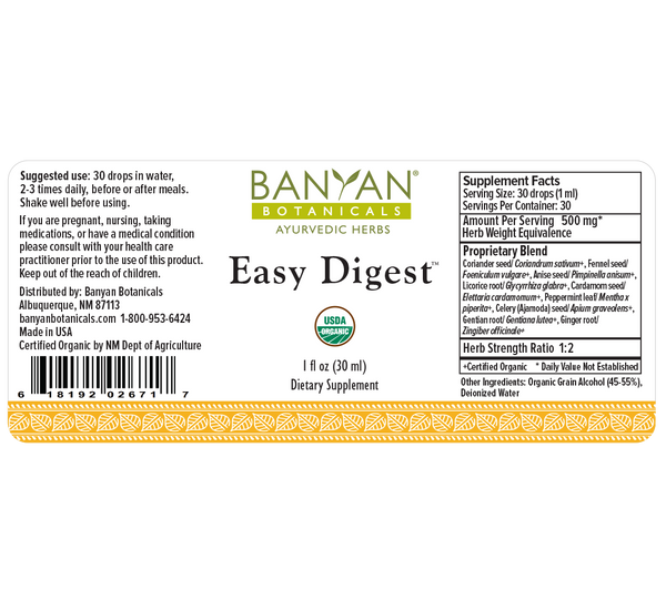 Banyan Botanicals, Easy Digest, Liquid Extract, 1 fl oz, 30 ml