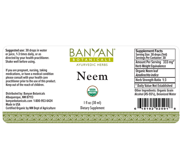 Banyan Botanicals, Neem, Liquid Extract, 1 fl oz