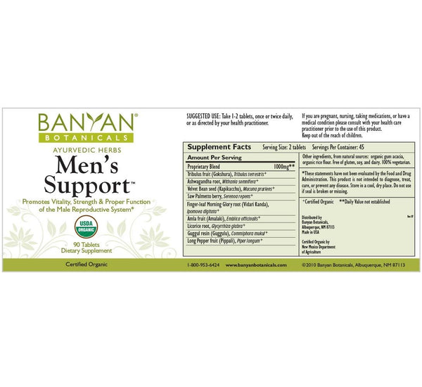 Banyan Botanicals, Mens Support, 90 ct