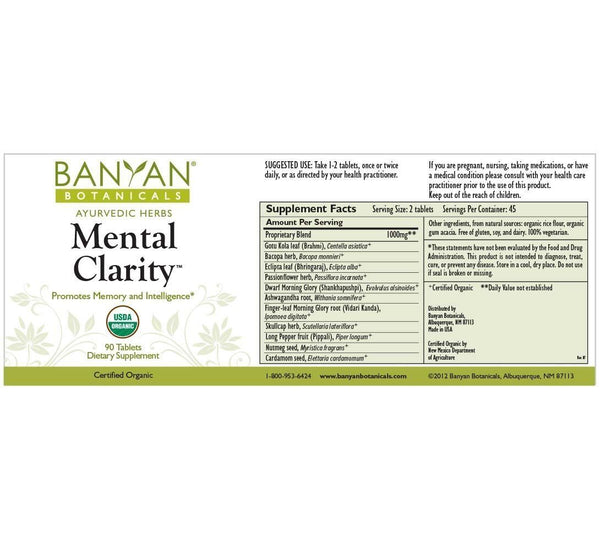 Banyan Botanicals, Mental Clarity, 90 ct