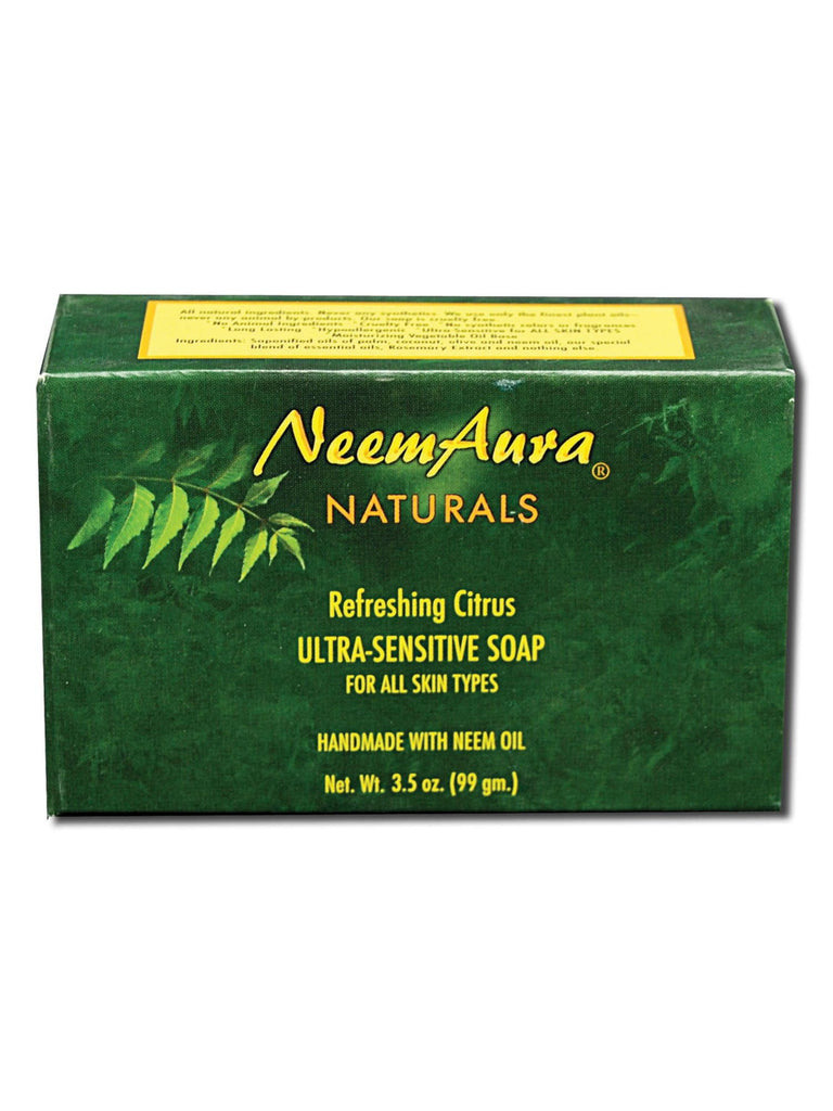 Neem Ultra-Sensitive Soap Refreshing Citrus (All Skin Types), 1 bar, Neem Aura