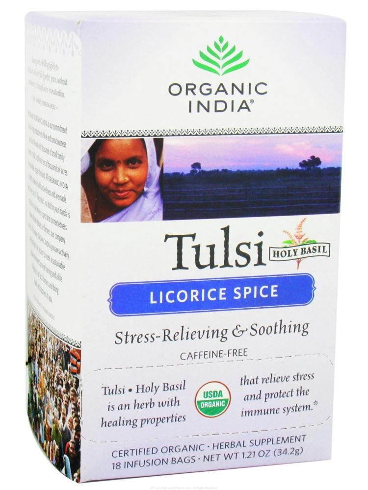 Tulsi Licorice Spice Tea (Caffeine Free), 18 ct, Organic India