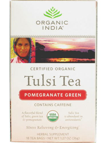 Tulsi Pomegranate Green Tea, 18 ct, Organic India