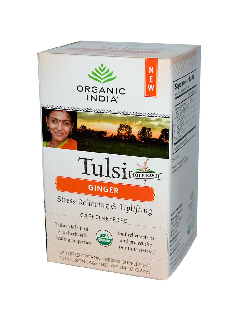 Tulsi Ginger Tea, 18 ct, Organic India