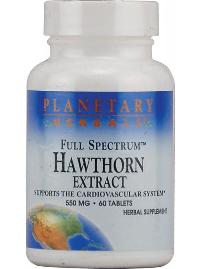 Planetary Herbals, Hawthorn Ext 550mg Full Spectrum Std 9mg Vitexin, 60 ct