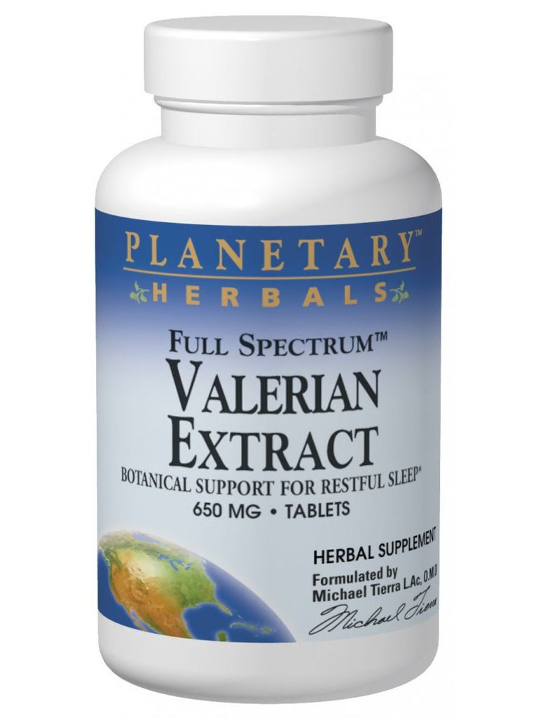 Planetary Herbals, Valerian Ext 650mg Full Spectrum Std 0.8% Valerenic Acid Yielding 3.6mg, 30 ct